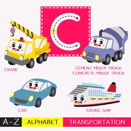 Letra C mayúscula niños coloridos transportes ABC alfabeto trazado flashcard para niños que aprenden vocabulario en inglés y escritura a mano ilustración vectorial.