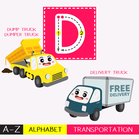 Letter D uppercase children colorful transportations ABC alphabet tracing flashcard for kids learning English vocabulary and handwriting Vector Illustration. Illustration