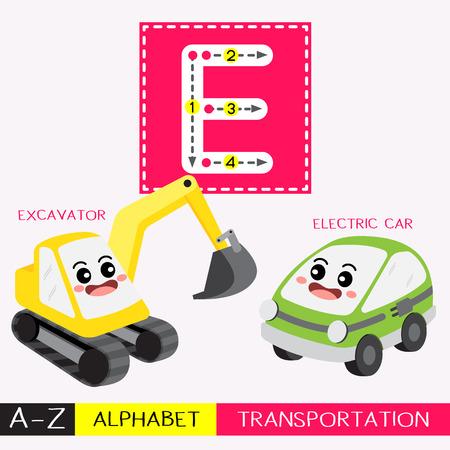 Lettre E majuscule enfants transports colorés ABC alphabet traçage flashcard pour les enfants qui apprennent le vocabulaire anglais et l'écriture manuscrite Illustration vectorielle.