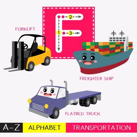 Letter F uppercase children colorful transportations ABC alphabet tracing flashcard for kids learning English vocabulary and handwriting Vector Illustration. Illustration