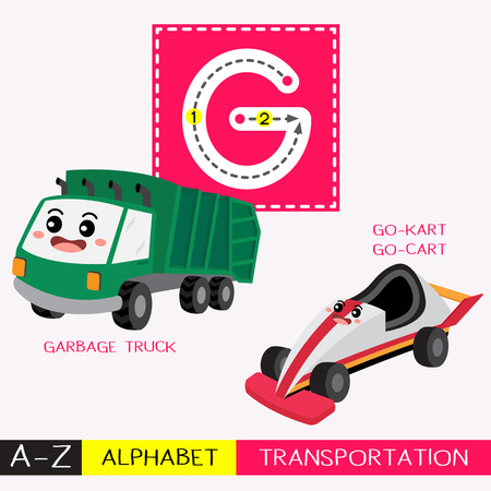 Letter G uppercase children colorful transportations ABC alphabet tracing flashcard for kids learning English vocabulary and handwriting Vector Illustration.