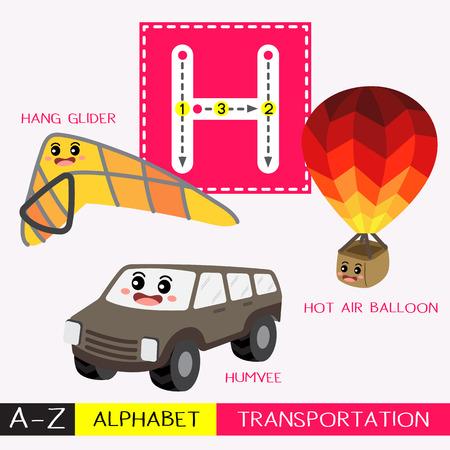 Letra H mayúsculas niños coloridos transportes ABC alfabeto trazado flashcard para niños que aprenden vocabulario en inglés y escritura a mano ilustración vectorial. Ilustración de vector
