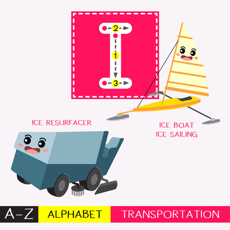 Letter I uppercase children colorful transportations ABC alphabet tracing flashcard for kids learning English vocabulary and handwriting Vector Illustration.