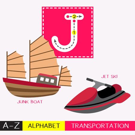 Letra J mayúscula niños coloridos transportes ABC alfabeto trazado flashcard para niños que aprenden vocabulario en inglés y escritura a mano ilustración vectorial.