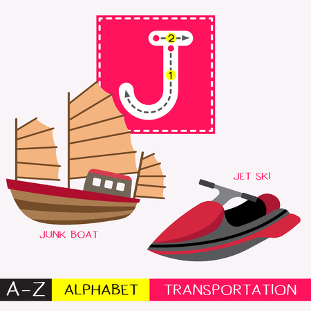 Lettre J enfants en majuscules transports colorés ABC alphabet traçage flashcard pour les enfants qui apprennent le vocabulaire anglais et l'écriture manuscrite Illustration vectorielle.