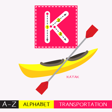 Letter K uppercase children colorful transportations ABC alphabet tracing flashcard for kids learning English vocabulary and handwriting Vector Illustration.