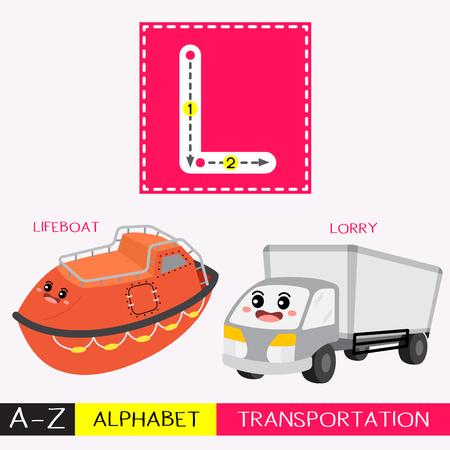 Letter L uppercase children colorful transportations ABC alphabet tracing flashcard for kids learning English vocabulary and handwriting Vector Illustration.
