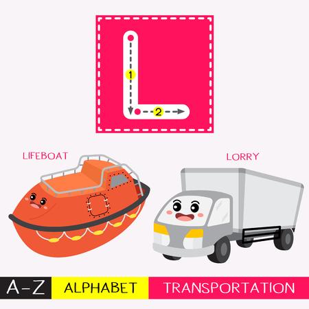 Lettre L majuscule enfants transports colorés ABC alphabet traçage flashcard pour les enfants qui apprennent le vocabulaire anglais et l'écriture manuscrite Illustration vectorielle.