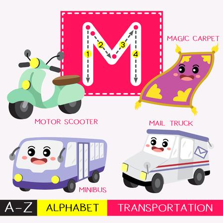 Lettre M majuscule enfants transports colorés ABC alphabet traçage flashcard pour les enfants qui apprennent le vocabulaire anglais et l'écriture manuscrite Illustration vectorielle.