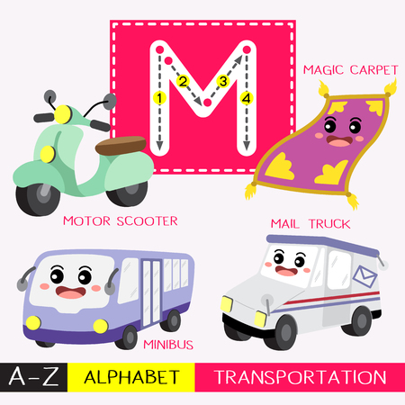 Letter M uppercase children colorful transportations ABC alphabet tracing flashcard for kids learning English vocabulary and handwriting Vector Illustration.