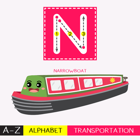 Letter N uppercase children colorful transportations ABC alphabet tracing flashcard for kids learning English vocabulary and handwriting Vector Illustration.