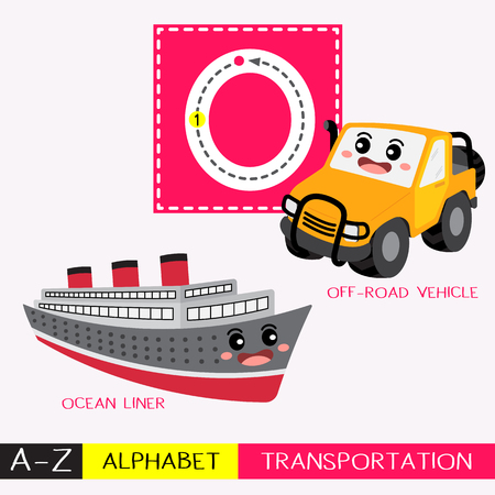 Letter O uppercase children colorful transportations ABC alphabet tracing flashcard for kids learning English vocabulary and handwriting Vector Illustration.