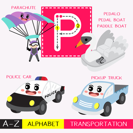Letter P uppercase children colorful transportations ABC alphabet tracing flashcard for kids learning English vocabulary and handwriting Vector Illustration. Ilustração