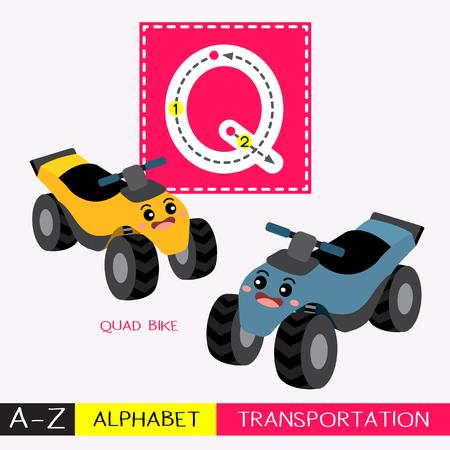 Lettre Q majuscule enfants transports colorés ABC alphabet traçage flashcard pour les enfants qui apprennent le vocabulaire anglais et l'écriture manuscrite Illustration vectorielle. Vecteurs