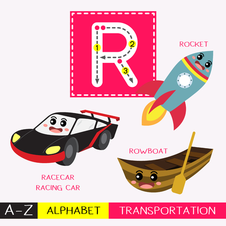 Letter R uppercase children colorful transportations ABC alphabet tracing flashcard for kids learning English vocabulary and handwriting Vector Illustration.