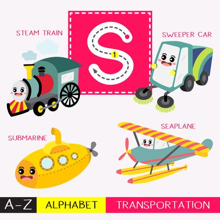 Letra S mayúsculas niños coloridos transportes ABC alfabeto trazado flashcard para niños que aprenden vocabulario en inglés y escritura a mano ilustración vectorial.
