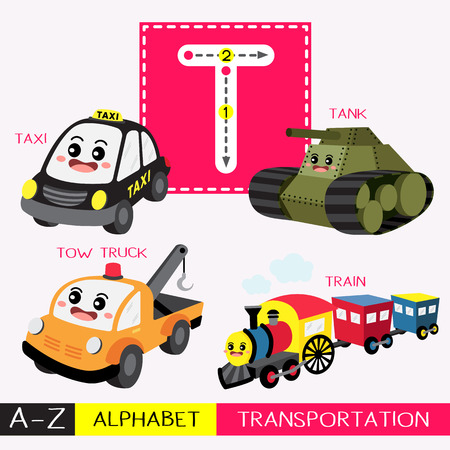 Letra T mayúscula para niños coloridos transportes ABC alfabeto trazando flashcard para niños que aprenden vocabulario inglés y escritura a mano ilustración vectorial