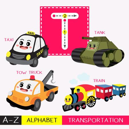 Lettre T enfants en majuscules transports colorés ABC alphabet traçage flashcard pour les enfants qui apprennent le vocabulaire anglais et l'écriture manuscrite Illustration vectorielle.