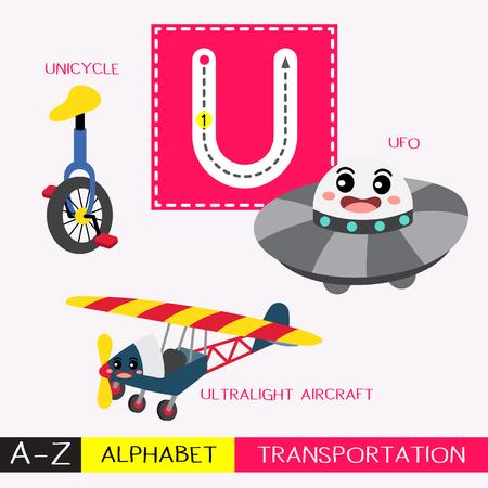 Letra U mayúscula para niños, coloridos transportes ABC, tarjeta de seguimiento de alfabeto para niños que aprenden vocabulario en inglés y escritura a mano ilustración vectorial. Ilustración de vector