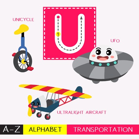 Letter U uppercase children colorful transportations ABC alphabet tracing flashcard for kids learning English vocabulary and handwriting Vector Illustration.