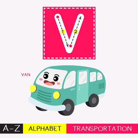 Lettre V enfants majuscules transports colorés ABC alphabet traçage flashcard pour les enfants qui apprennent le vocabulaire anglais et l'écriture manuscrite Illustration vectorielle. Vecteurs