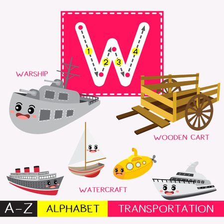Letter W uppercase children colorful transportations ABC alphabet tracing flashcard for kids learning English vocabulary and handwriting Vector Illustration.
