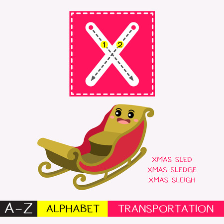 Letter X uppercase children colorful transportations ABC alphabet tracing flashcard for kids learning English vocabulary and handwriting Vector Illustration.