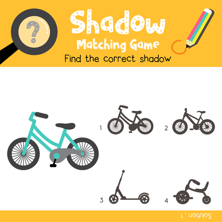 Shadow matching game of Bicycle side view transportations for preschool kids activity worksheet colorful version. Vector Illustration.