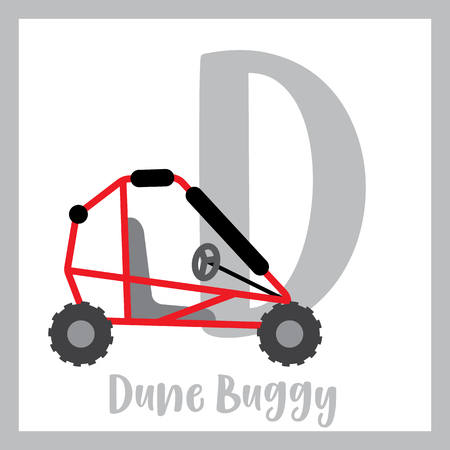 Letter D cute children colorful transportations ABC alphabet flashcard of Dune Buggy for kids learning English vocabulary Vector Illustration.