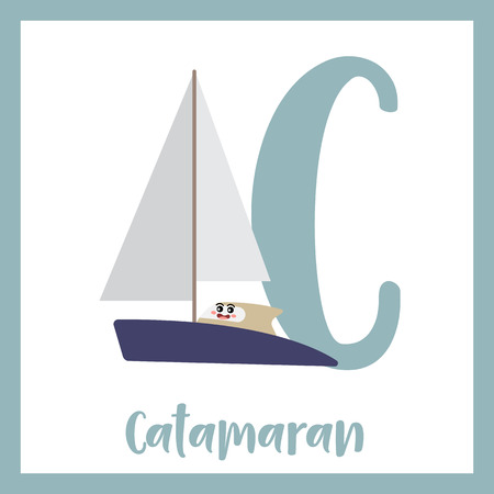 Letter C cute children colorful transportations ABC alphabet flashcard of Catamaran for kids learning English vocabulary Vector Illustration.