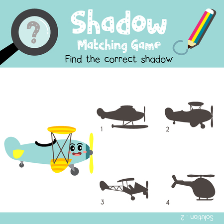 Shadow matching game of Biplane side view transportations for preschool kids activity worksheet colorful version. Vector Illustration. Banque d'images - 114774495