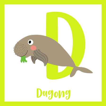 Cute children ABC animal zoo alphabet D letter flashcard of Happy Dugong for kids learning English vocabulary. Vector illustration.
