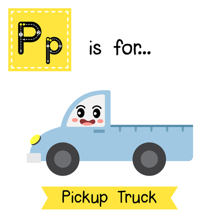 Letter P cute children colorful transportations ABC alphabet tracing flashcard of Pickup Truck for kids learning English vocabulary Vector Illustration.