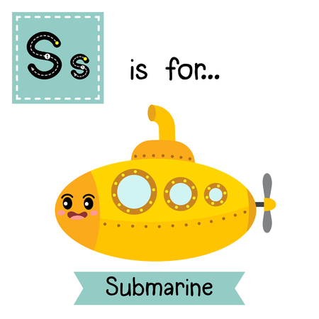 Letter S cute children colorful transportations ABC alphabet tracing flashcard of Submarine for kids learning English vocabulary Vector Illustration.