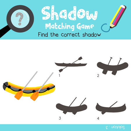 Shadow matching game of Liferaft cartoon character side view transportations for preschool kids activity worksheet colorful version. Vector Illustration.