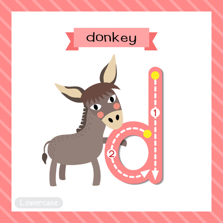 Letter D lowercase cute children colorful zoo and animals ABC alphabet tracing flashcard of Donkey for kids learning English vocabulary and handwriting vector illustration. Ilustração