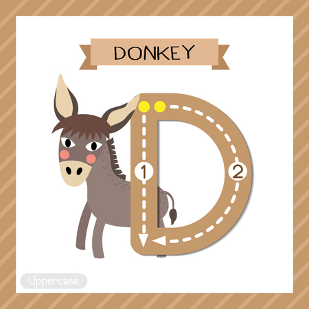 Letter D uppercase cute children colorful zoo and animals ABC alphabet tracing flashcard of Donkey for kids learning English vocabulary and handwriting vector illustration. Ilustração
