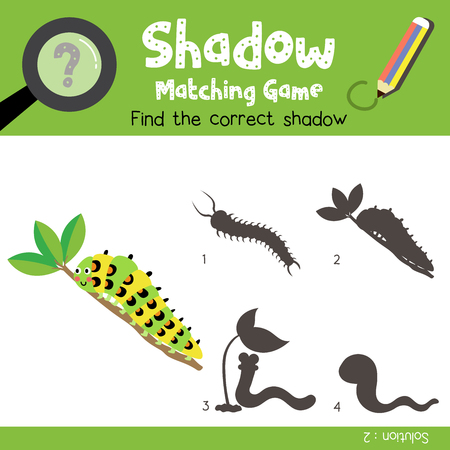 Shadow matching game of Caterpillar crawling on the branch animals for preschool kids activity worksheet colorful version. Vector Illustration.