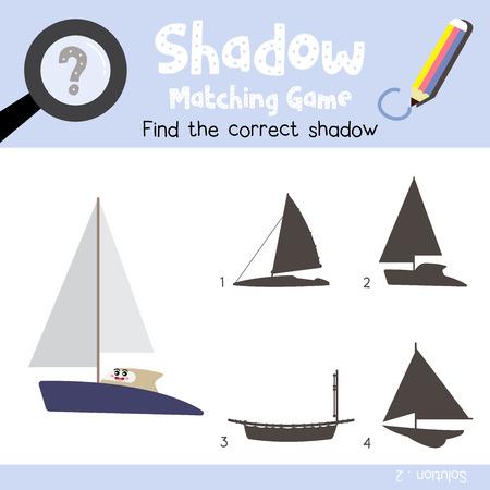 Gioco di abbinamento ombra dei trasporti di vista laterale del personaggio dei cartoni animati di catamarano per la versione colorata del foglio di lavoro delle attività per bambini in età prescolare. Illustrazione di vettore.
