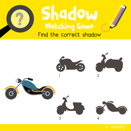 Shadow matching game of Chopper cartoon character side view transportations for preschool kids activity worksheet colorful version. Vector Illustration.