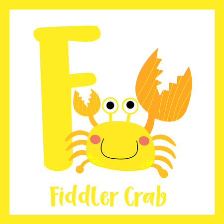 Cute children ABC animal zoo alphabet F letter flashcard of Fiddler Crab for kids learning English vocabulary. Vector illustration. Illustration