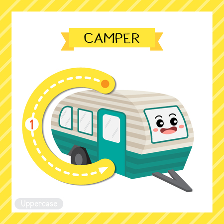 Letter C uppercase cute children colorful transportations ABC alphabet tracing flashcard of Camper for kids learning English vocabulary and handwriting Vector Illustration.