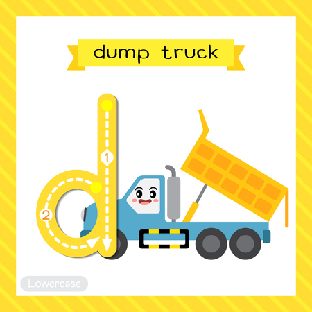 Letter D lowercase cute children colorful transportations ABC alphabet tracing flashcard of Dump Truck for kids learning English vocabulary and handwriting Vector Illustration. Illustration