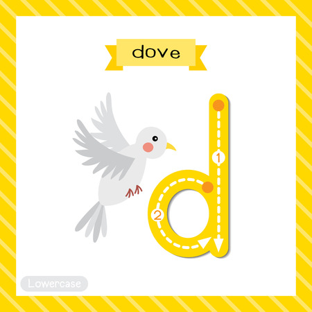 Letter D lowercase cute children colorful zoo and animals ABC alphabet tracing flashcard of A Flying Dove bird for kids learning English vocabulary and handwriting vector illustration.