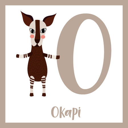 Cute children ABC animal zoo alphabet O letter flashcard of Okapi standing on two legs for kids learning English vocabulary. Vector illustration. Ilustração