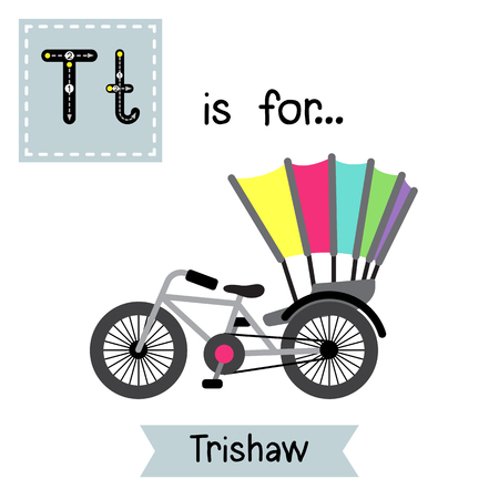 Letter T cute children colorful transportations ABC alphabet tracing flashcard of Trishaw for kids learning English vocabulary Vector Illustration. Illustration