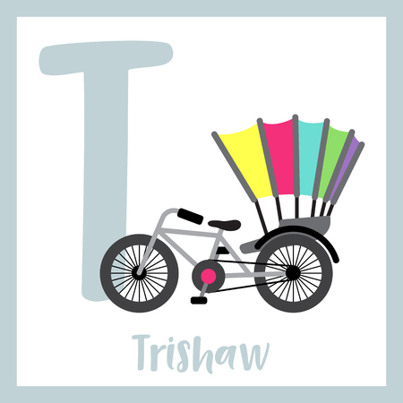 Letter T cute children colorful transportations ABC alphabet flashcard of Trishaw for kids learning English vocabulary Vector Illustration.