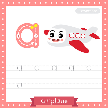 Letter A lowercase cute children colorful transportations ABC alphabet tracing practice worksheet of Airplane for kids learning English vocabulary and handwriting Vector Illustration. 向量圖像