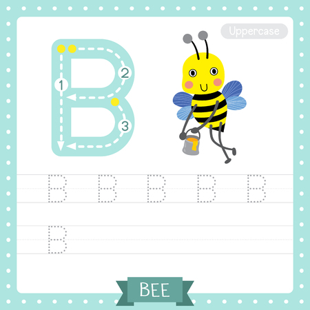 Letter B uppercase cute children colorful zoo and animals ABC alphabet tracing practice worksheet of Happy Bee flying around with a brimful jar of delicious honey for kids learning English vocabulary and handwriting vector illustration.