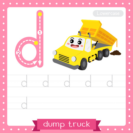 Letter D lowercase cute children colorful transportations ABC alphabet tracing practice worksheet of Dump Truck for kids learning English vocabulary and handwriting Vector Illustration.